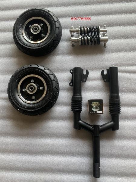 Mua Combo chế xe 2 bánh,xe scooter điện gồm 2 bánh 20cm ,phuộc trước , bộ chén cổ, giảm sóc nhỏ
