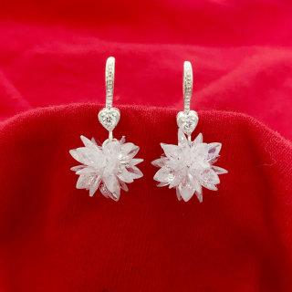 Bông tai nữ Bạc Quang Thản thiết kế kiểu dáng dài khóa móc treo hoa tuyết đá màu trắng pha lê phong cách cá tính thích hợp đeo thời trang làm quà tặng. thumbnail
