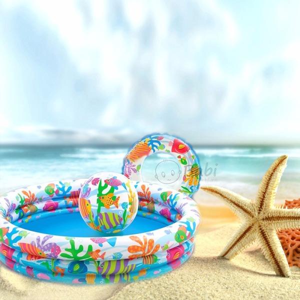 [ SALE SẬP SÀN] Bể bơi phao cho em bé INTEX kích thước 1m2x60cm, rất lớn - Bể bơi phao tròn cho bé - Tặng bơm hơi và 3 miếng vá dự phòng-  Bể phao cao cấp - Bể bơi phao trong nhà - Bể bơi cho trẻ em - Bể bơi phao chất liệu PVC .