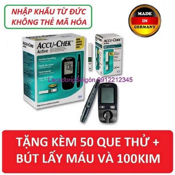 Máy đo đường huyết Accuchek Active TẶNG KÈM 50 que thử | tiểu đường nhập khẩu