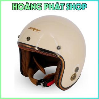 [HCM]Mũ Bảo Hiểm 3 4 SRT Viền Đồng Lót Nâu Sang Trọng - Nón 3 4 Viền Đồng - Nón Phượt tặng kèm mũi lưỡi trai thumbnail