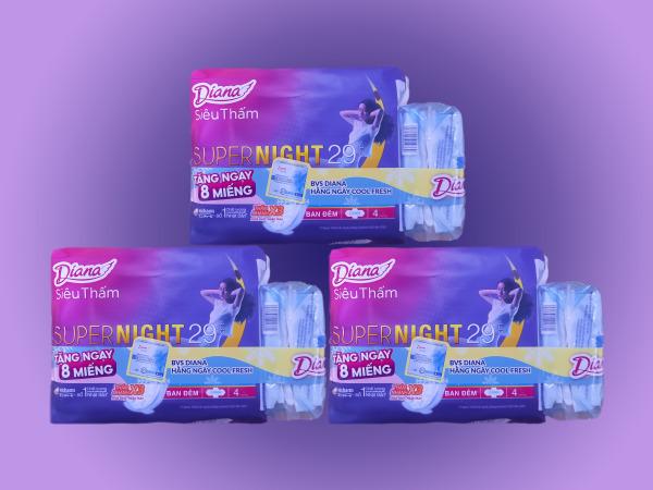 Khuyến mãi  - Set 6 gói ( 3 cặp ) <<< Diana Đêm 29cm - 4 miếng >>>  TẶNG FREE 3 gói hằng ngày cool