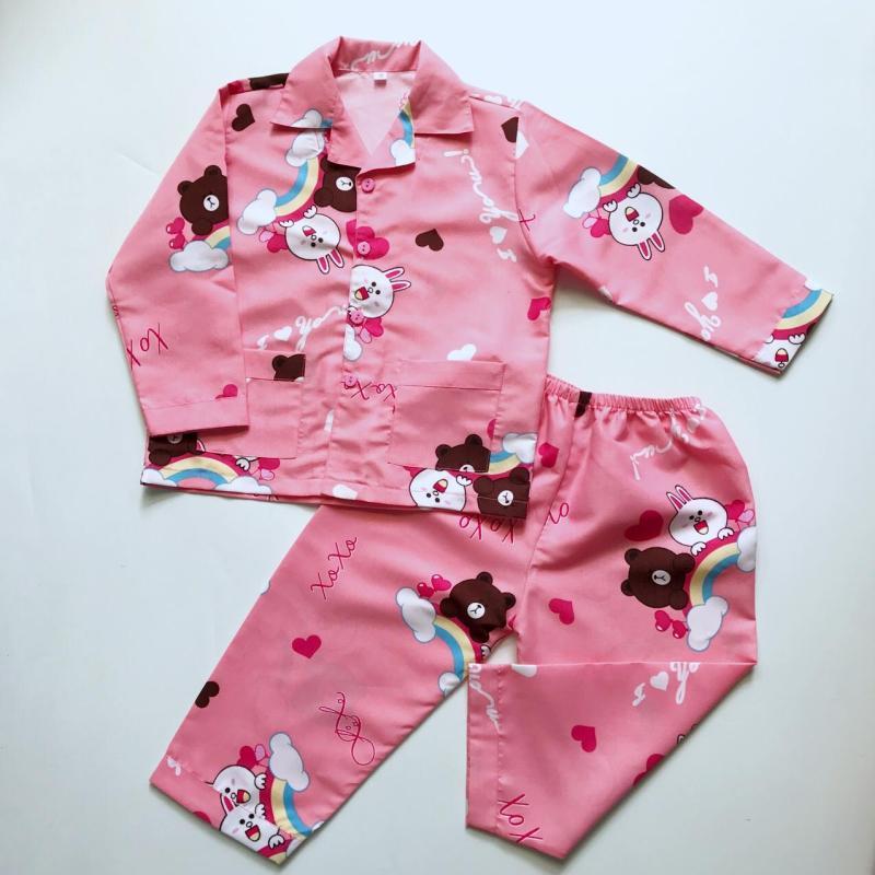 Nơi bán Pijama cho bé kate thái hình Gấu thỏ Lines Hồng 10-40kg