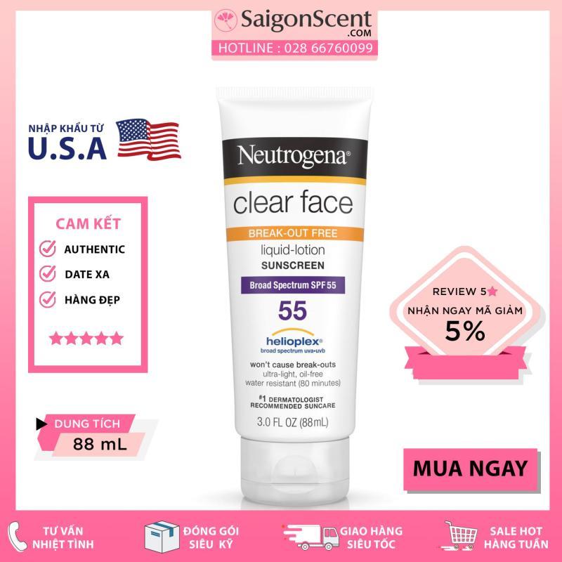 Kem chống nắng Neutrogena - Liquid Lotion Clear Face SPF 55 (88ml) nhập khẩu