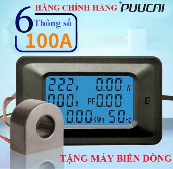 Bảng giá Máy đo điện áp cường độ dòng điện công suất công tơ điện tử PUUCAI ampe kế vôn kế 100A 6 trong 1