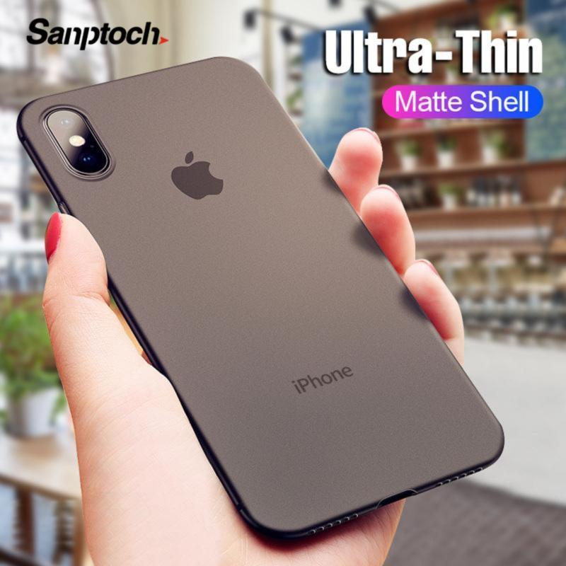 Giá 0.4 Mm Siêu Mỏng Matte Trường Hợp Đối Với iPhone X XS Max XR Cứng PC Vỏ Điện Thoại Cho iPhone 8 7 6 6 S Cộng Với Chống Sốc Ốp Bảo Vệ Chà Vỏ