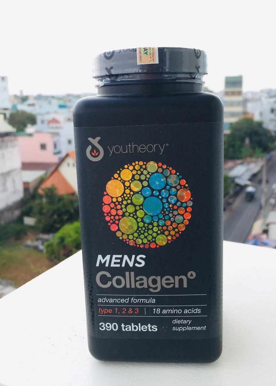 Viên uống Collagen Youtheory Mens Type 1, 2 & 3 Dành Cho Nam 390 viên chính hãng