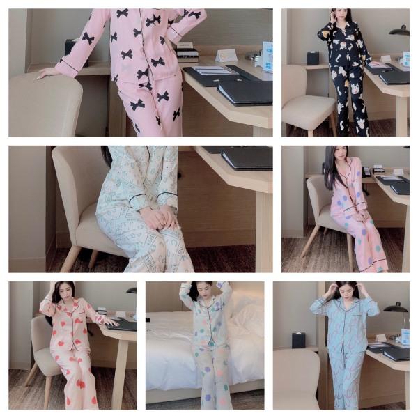 Nơi bán [Chính Hãng] Pijama Lụa Cao Cấp, Đồ Bộ Họa Tiết Trang Nhã, Đồ Ngủ Đẹp, Bộ Mặc Nhà Thời Trang Nữ