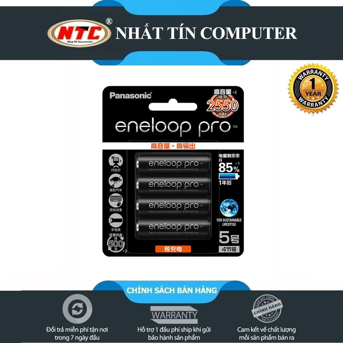 Giá Bộ 4 pin sạc AA Panasonic Eneloop PRO 2550mAh - phiên bản nội địa Nhật Bản (Đen)