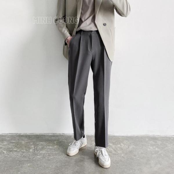 Quần baggy nam Hàn quốc phối đồ siêu đẹp với áo khoác nam, giày nam