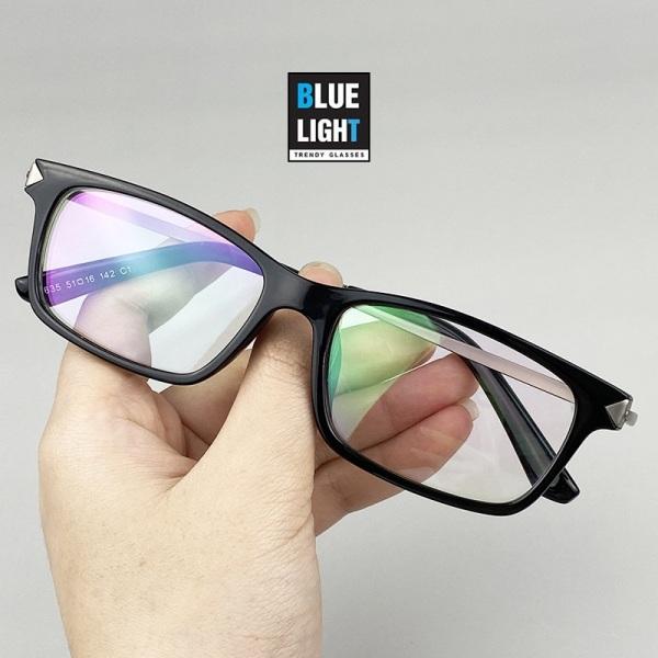 Giá bán Kính Giả Cận, Gọng Kính Cận Nam Nữ Mắt Vuông Nhỏ Nhựa Đen Bóng Càng Kim Loại Không Độ Hàn Quốc - BLE LIGHT SHOP