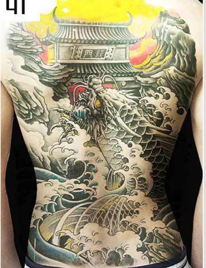 Hình xăm dán tattoo kín lưng cá chép hóa rồng vượt vũ long môn 34z48cm