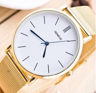 Đồng hồ dây hợp kim geneva mặt trắng dây vàng (dây lưới) thumbnail