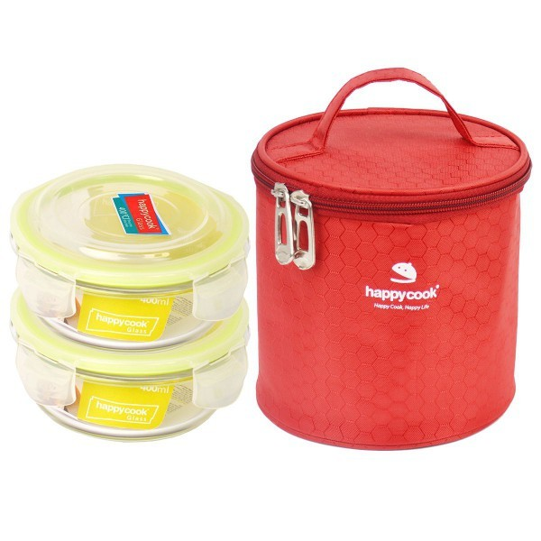 Bộ 2 Hộp Thủy Tinh Tròn 400ml Kèm Túi Giữ Nhiệt Happy Cook Glass HCG-02C