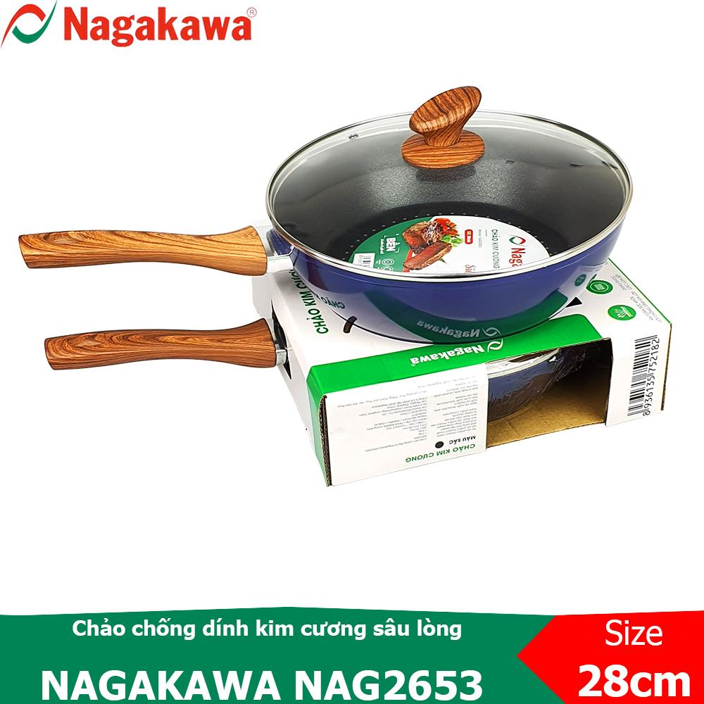 Chảo chống dính kim cương sâu lòng Nagakawa NAG2853 size 28cm sử dụng được trên bếp từ