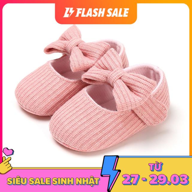 I Love Daddy & Mummy Giày bé gái một màu đính nơ chất liệu dệt kim kèm đế chống trượt, kích thích trẻ hào hứng tập đi giá rẻ