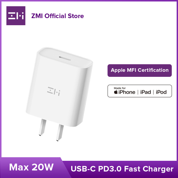 ZMI HA716 Sạc PD Hỗ trợ sạc nhanh Charger Set Data Cable 20W Fast Charging Mobile Phone sạc nhanh Suitable tương thích với Apple iPhone12/11/8P/X/XS MAX/XR/SE2 Universal Type-C Charger Head Apple MFI Official Certification