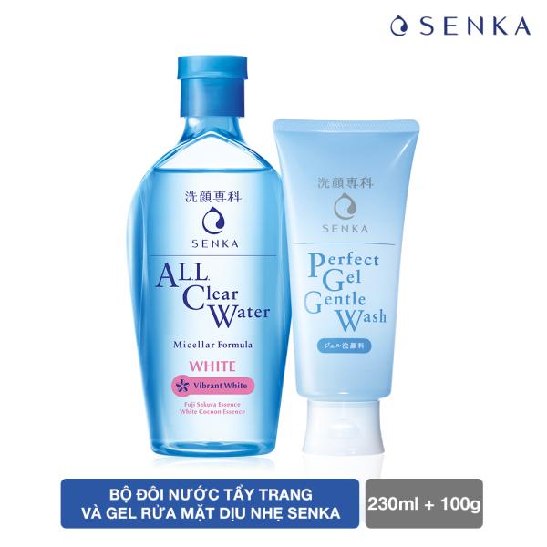 Bộ đôi nước tẩy trang và gel rửa mặt dịu nhẹ Senka cao cấp
