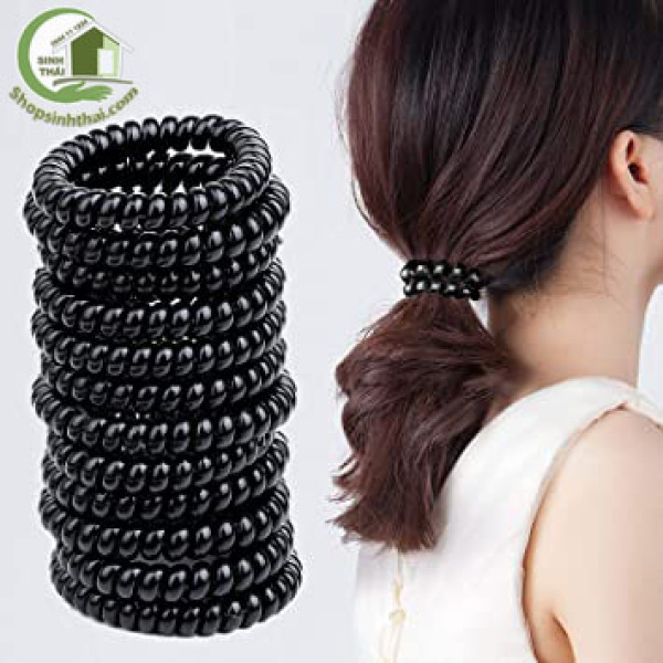 [HCM]Dây buộc tóc nhựa xoắn lò xo co giãn màu đen