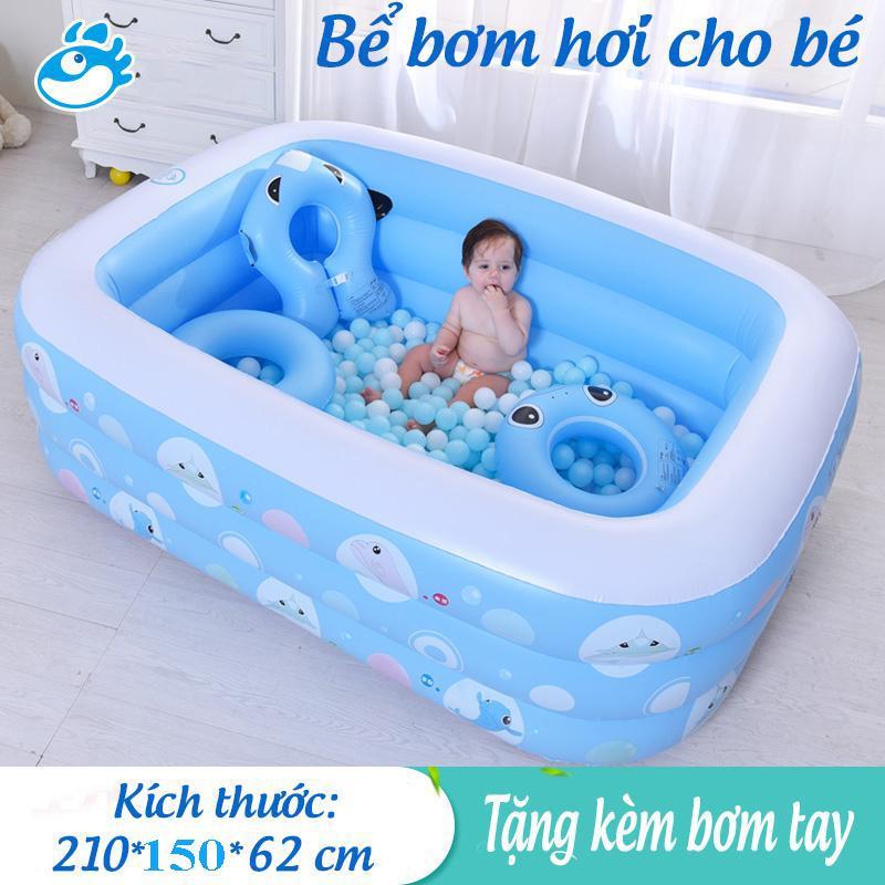 Bể Bơi Phao mini , Bể Bơi Trẻ Em , Phao bơi cho bé , Bể bơi phao 3 tầng  cỡ lớn cho bé và gia đình : 210 x 150 x 60 cm. loại dày dặn có tặng kèm( bơm hơi + miếng vá )