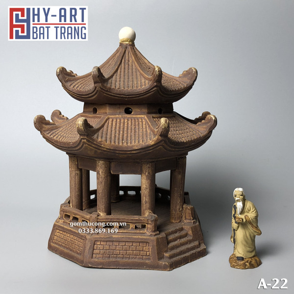 Mô hình Gốm Lầu Bát Giác tặng kèm tượng mini như hình - Phụ Kiện Trang Trí Hòn Non Bộ - Tiểu Cảnh - Bể Cá