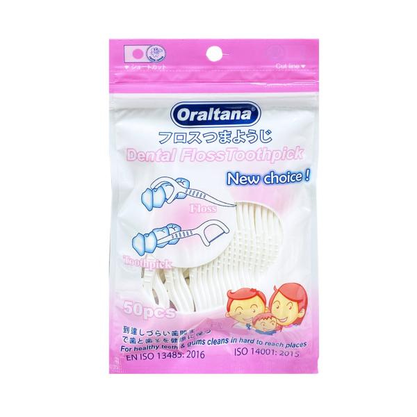 Tăm chỉ nha khoa Oraltana túi 50 cái, tăm nhựa nha khoa, chỉ nha khoa chính hãng, tăm chỉ kẽ răng cao cấp, giúp vệ sinh răng miệng sạch sẽ cho gia đình