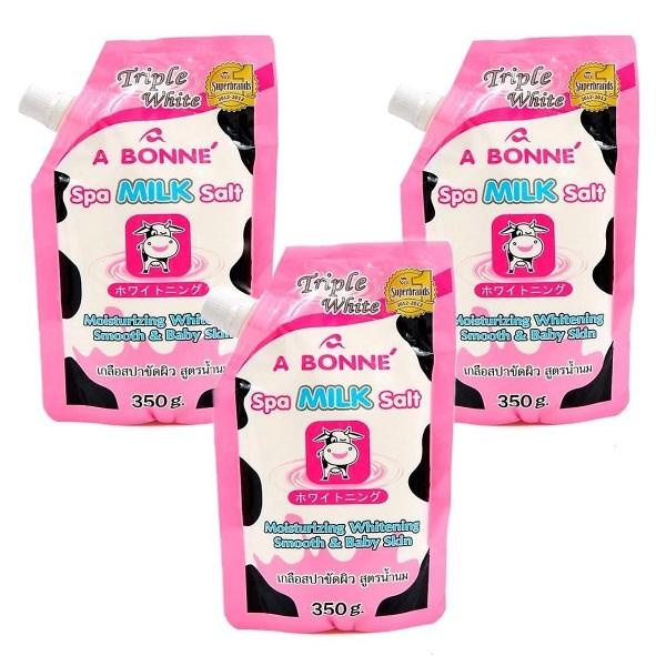 Combo 3 Bịch Muối tắm sữa bò tẩy tế bào chết A Bonne Spa Milk Salt Thái Lan 350gr cao cấp