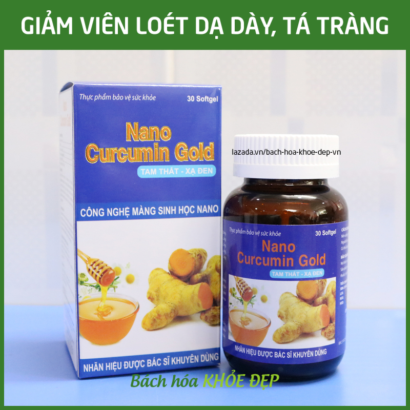 Viên tinh nghệ Nano Curcumin Gold Tam Thất Xạ Đen giảm viêm loét dạ dày, tá tràng, ung bướu - Chai 30 viên nang mềm
