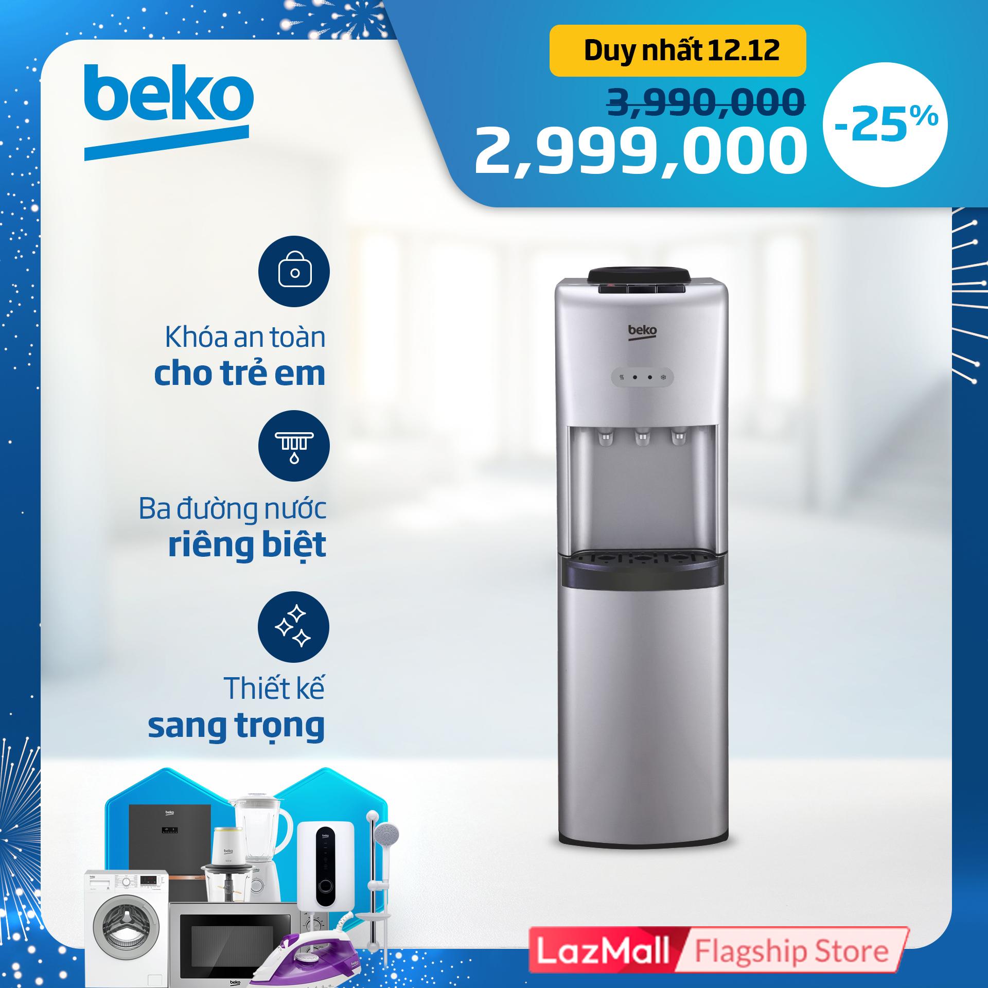 Cây nước nóng lạnh Beko BSS 4611 SC - Model bình úp - Công suất: Làm lạnh 100W - Làm nóng 420W - Có khóa trẻ em - Hàng chính hãng bảo hành 12 tháng