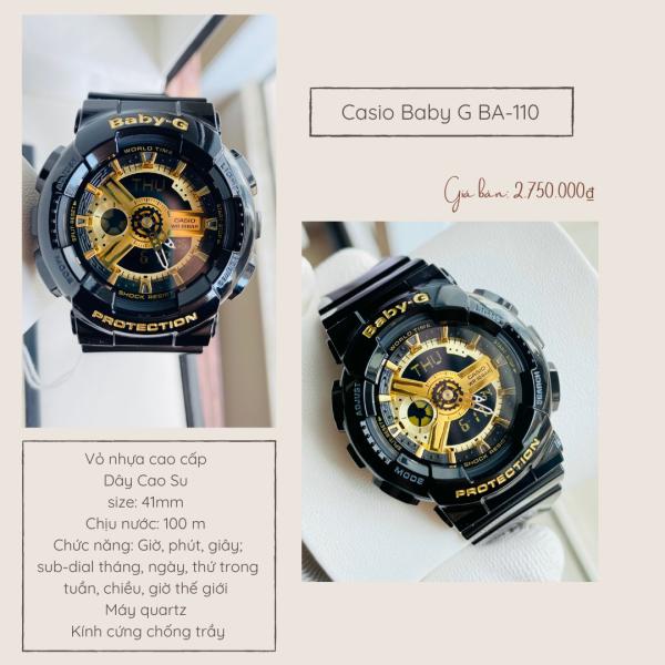 Đồng Hồ Thể Thao Nữ Dây Nhựa Chính Hãng Casio Baby G BA-110 Bảo Hành 18 Tháng Minh Minh Watch