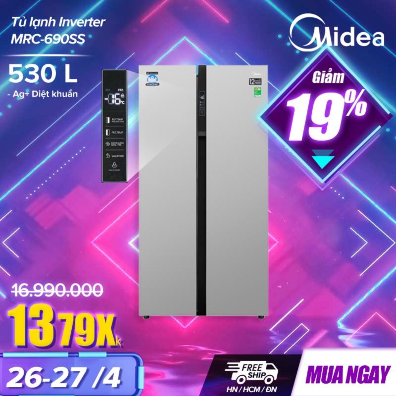 Tủ lạnh Midea Inverter MRC-690SS [Ngày 11/4 Mua Hàng Hỗ Trợ Ship 1 triệu] 530 lít (Dung tích thực tế - Dung tích tổng >600L) - Dòng cao cấp - Ag+ Diệt khuẩn giữ đồ ăn tươi ngon lâu - Hàng chính hãng Midea Việt Nam