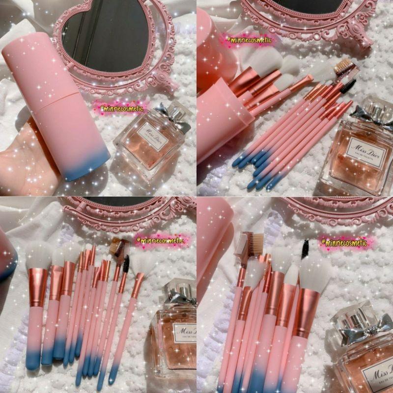 Bộ cọ trang điểm 12 cây makeup cơ bản kèm hũ nhựa - Mới nhập khẩu
