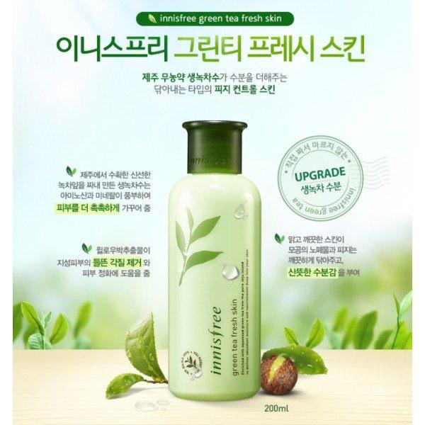 Nước hoa hồng dành cho da dầu Innisfree Green Tea Fresh Skin - Sữa rủa mặt trà xanh cam kết sản phẩm đúng mô tả chất lượng đảm bảo