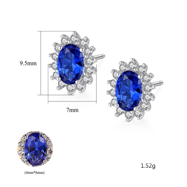 Bộ Trang Sức Bạc Nữ Đính Đá Màu Xanh Lam 3 Món BNT620 Bảo Ngọc Jewelry