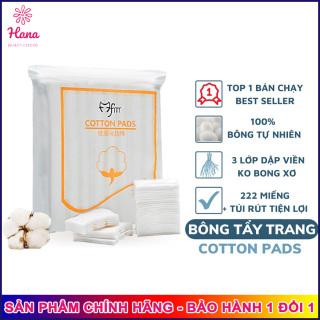Bông Tẩy Trang 3 Lớp Cotton Pads Túi 222 miếng hana tech. Có túi PP rút siêu tiện lợi và giữ vệ sinh 100% bông tự nhiên - Hanatech thumbnail