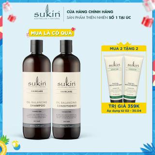 Combo Gội Xả Cân Bằng Dầu Sukin Haircare Oil Balancing Shampoo 500ml & Sukin Haircare Oil Balancing Conditioner 500ml