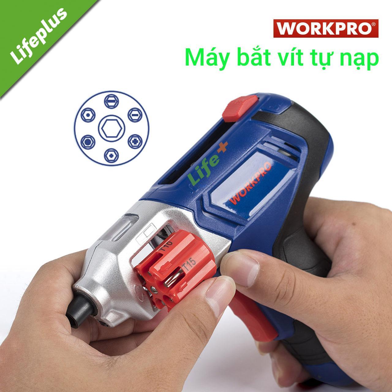 Máy bắt vít tự nạp ổ 6 kèm 12 đầu vít Workpro W121001