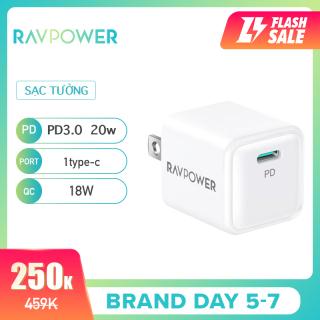 Bộ sạc RAVPower iPhone 12 Super Nano, Bộ sạc treo tường 1 gói 20W USB C PD, RP-PC150 thumbnail