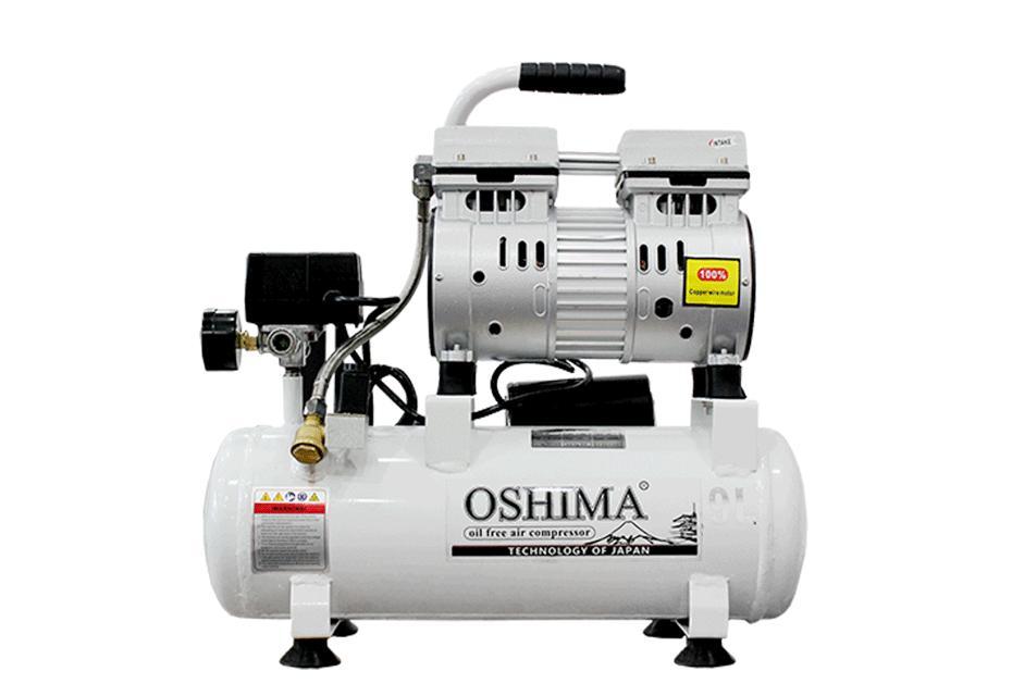 Máy nén khí không dầu mini Oshima 9L, dây đồng, C/S 1HP, Xi lanh 65mm, có bộ phận tản nhiệt rờ le ngắt