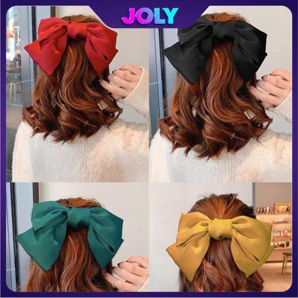 Kẹp tóc nữ nơ lụa Hàn Quốc xinh xăn DC07 - Dây buộc tóc nữ nơ to xinh xắn JOLY