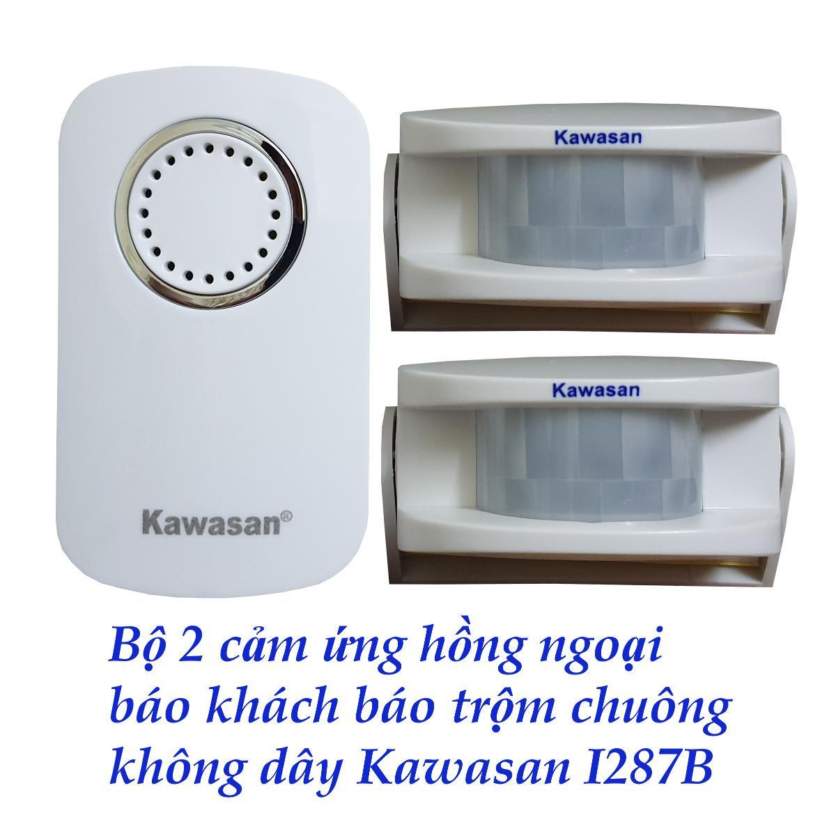 Bộ chuông - 2 CẢM ỨNG HỒNG NGOẠI báo khách báo trộm không dây KAWASAN i287B