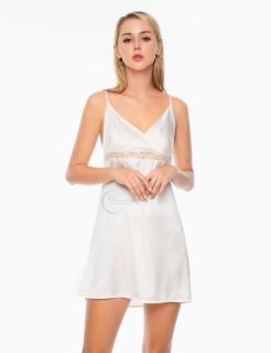 Dreamy VX16 - Váy ngủ lụa cao cấp phối ren eo tạo lộ đường cong quyến rũ màu trắng thumbnail
