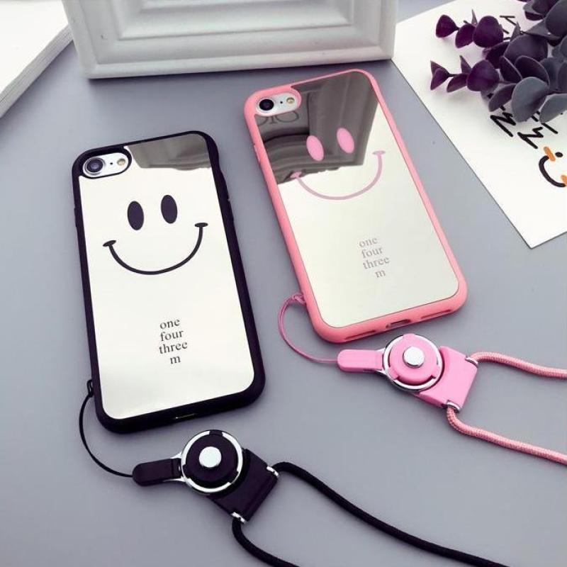 Giá Ốp tráng gương mặt cười cho iPhone 6 / 6s / 6Plus / 6sPlus / 7 / 7Plus / 8 / 8 / 8Plus / X / XS tặng kèm dây đeo