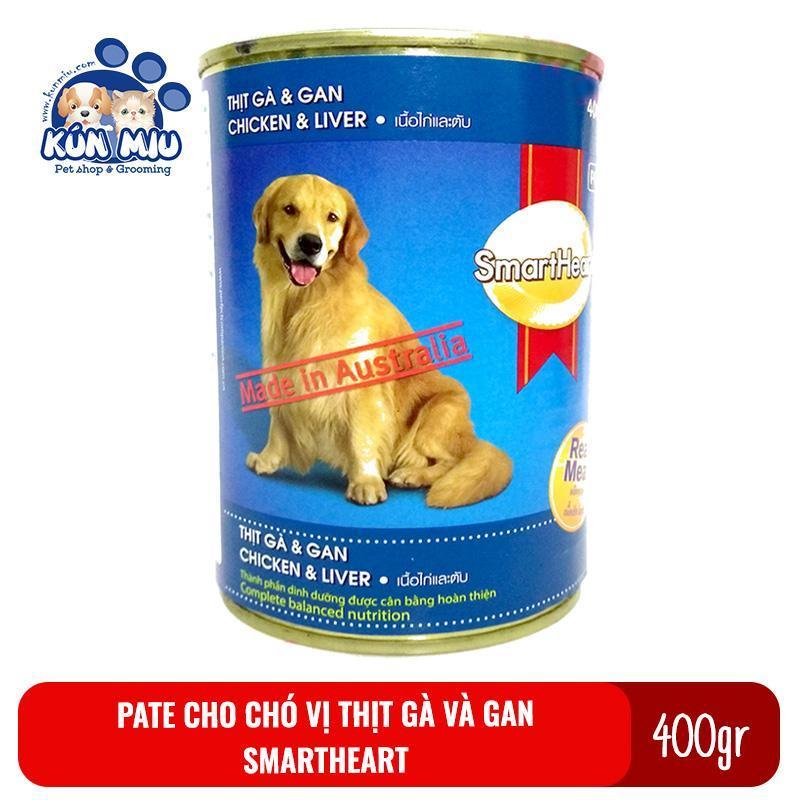 Thức ăn Pate cho chó Smartheart lon 400gr vị gà và gan - Thức ăn ướt đóng hộp cho chó Smart heart