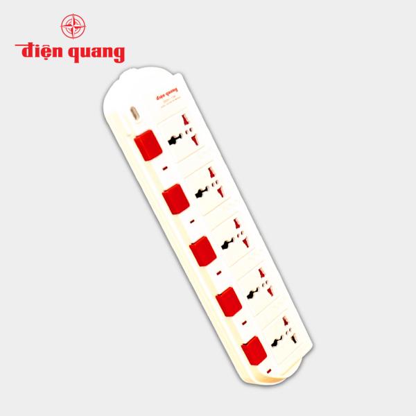 Ổ cắm Điện Quang ĐQ ESK 5W.SM750SL (5 lỗ 3 chấu dây 5 mét màu Trắng Đỏ)