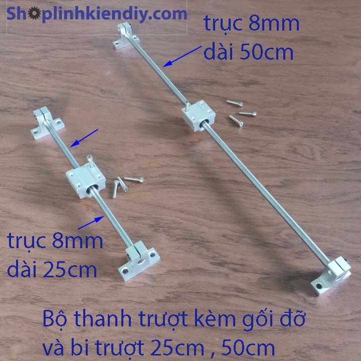 bộ ray trượt mini - bi trượt 8mm dài 50cm