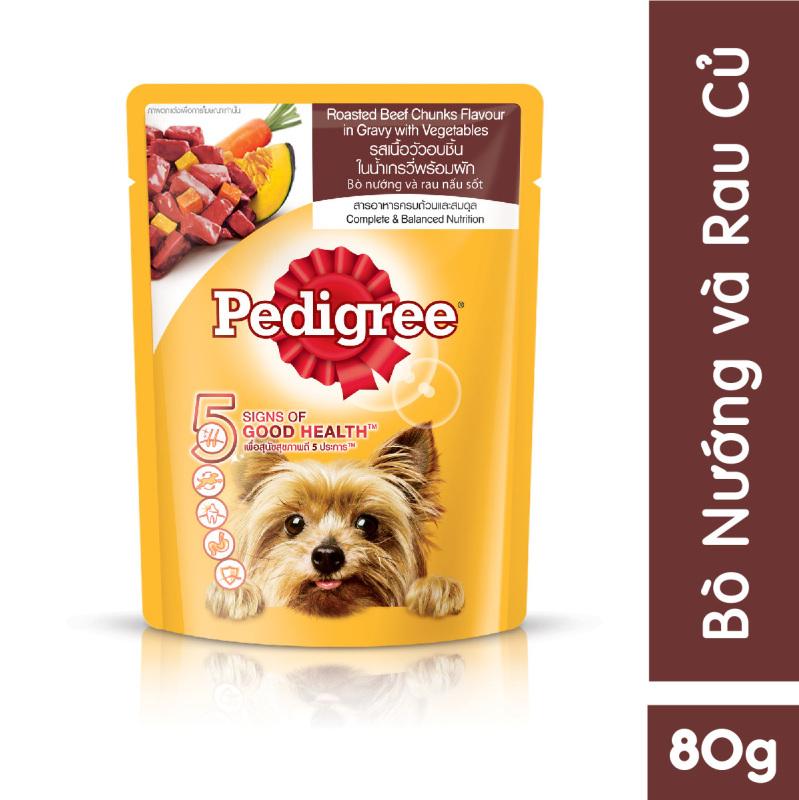 Thức ăn cho chó lớn dạng sốt Pedigree vị bò nướng và rau củ 80g