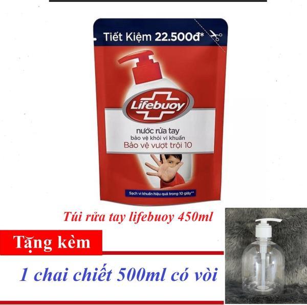 [TẶNG 1 CHAI CHIẾT 500ML] KHI MUA Nước rửa tay Lifebuoy cho tay làm bếp túi tiết kiệm 450g giá rẻ