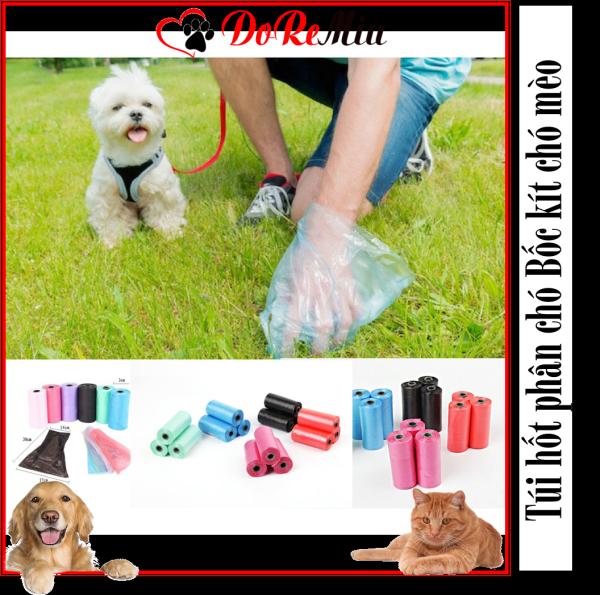 Doremiu-  1 cuộn 15 Túi hốt phân chó bốc kít túi nilon dùng bọc xẻng gắp phân