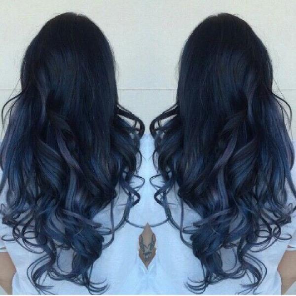 Thuốc nhuộm tóc màu xanh đen + Tặng trợ nhuộm, gang tay